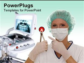 PowerPoint template displaying a surgeon holding surgical equipment and machinery in the background