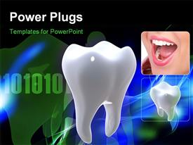 PowerPoint template displaying a teeth with binary numbers in the background
