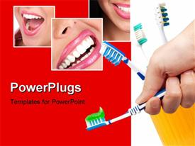 PowerPoint template displaying collage of human dentition with hand holding toothbrush with toothpaste