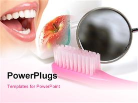 PowerPoint template displaying depiction of good dentition with toothbrush and red apple