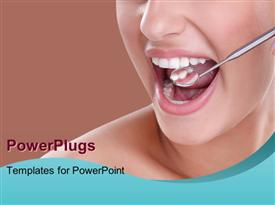 PowerPoint template displaying woman having dental examination with dental equipment checking dentition