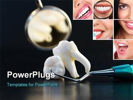 PowerPoint template displaying the wisdom tooth with a mirror in the background