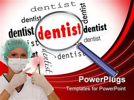PowerPoint template displaying dentist holding dental tool next to magnifying glass over word dentist