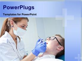 PowerPoint template displaying beautiful female dentist examining dentition of male patient on sick bed
