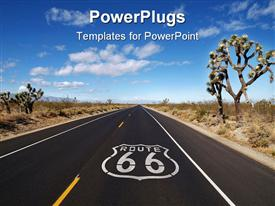 PowerPoint template displaying historic Route 66 crossing California's Mojave desert in the background.