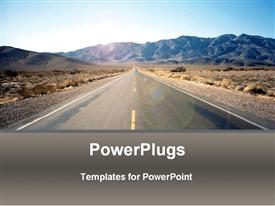 PowerPoint template displaying road driving through Nevada desert, arid desert scenery with road and hills