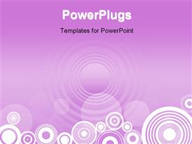 PowerPoint template displaying an abstract depiction of a purple colored background with circle designs