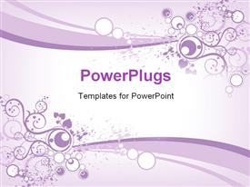 PowerPoint template displaying an abstract floral design on a purple and white colored background