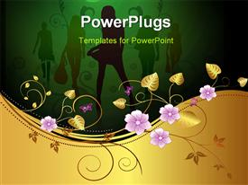 PowerPoint template displaying fashon depiction with silhouette of ladies and floral decoration