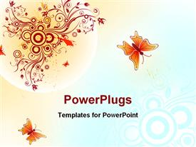 PowerPoint template displaying abstract floral chaos with butterfly element for design in the background.