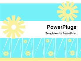 PowerPoint template displaying cream abstract flowers with white lines on white, light blue and cream background