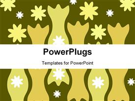 PowerPoint template displaying abstract flowers and shapes on dark green background
