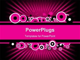 PowerPoint template displaying pink banner with pink, black, and white abstract circles