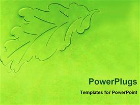 PowerPoint template displaying leaf graphic margins on green background, artwork of leaf coming out the background