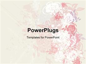 PowerPoint template displaying a pretty pink and white floral design on a white background