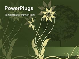 PowerPoint template displaying beautiful green graphic flower label design in the background.