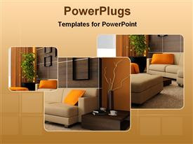 PowerPoint template displaying beautiful interior design of a living room in the background.