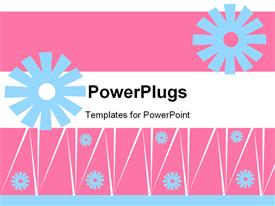 PowerPoint template displaying a collection of flowers with pinkish background and various lines