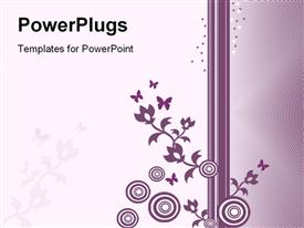 PowerPoint template displaying a beatiful purple colored floral design on a white and purple background