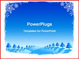 PowerPoint template displaying a beautiful depiction of various structures and snow in the background