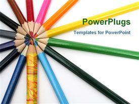 PowerPoint template displaying rainbow of multicolored pencils on white background