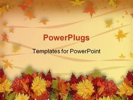 PowerPoint template displaying colorful fall flowers for Halloween