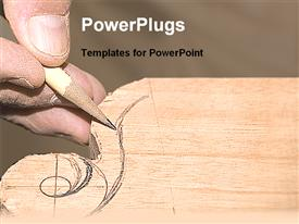 PowerPoint template displaying hand with a pencil carving a design on a piece of wood