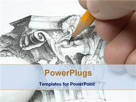 PowerPoint template displaying designer drawing with pencil in the background.