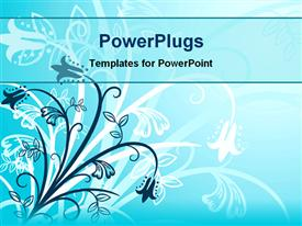 PowerPoint template displaying aqua blue abstract background with navy and white flowers and stems