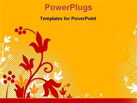 PowerPoint template displaying a floral view with orange background