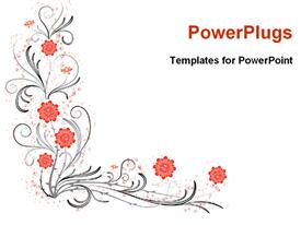 PowerPoint template displaying abstract floral pattern design with red flowers on white background