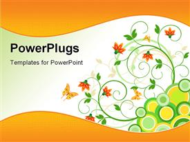 PowerPoint template displaying floral art design decor in the background.