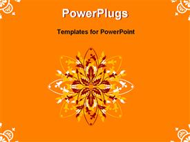 PowerPoint template displaying floral pattern in background and bottom right corner with orange theme