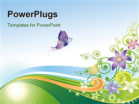 PowerPoint template displaying an abstract design of a colorful floral background with a purple butterfly