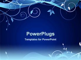 PowerPoint template displaying a beautiful floral design on a blue colored background