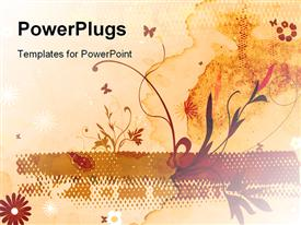PowerPoint template displaying abstract floral design on vintage colored brown background with flowers and butterflies