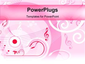 PowerPoint template displaying the musical strings with pink background