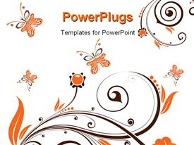 PowerPoint template displaying flower background with butterfly element for design in the background.