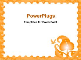 PowerPoint template displaying white background with orange border, plant, dove, hearts
