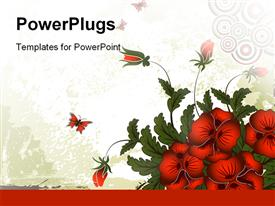 PowerPoint template displaying red butterfly and flowers, green leaves