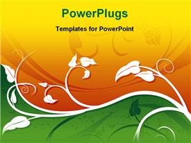 PowerPoint template displaying illustrated design work in the background.