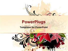 PowerPoint template displaying depiction drawing of floral background with grunge texture