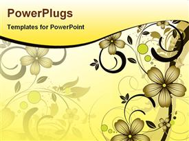 PowerPoint template displaying abstract depiction of a floral design on a cream colored background