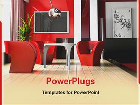 PowerPoint template displaying beautiful red themed interior decoration of a small sitting room
