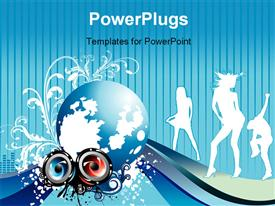 PowerPoint template displaying party sound and beauty woman in the background.