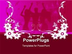 PowerPoint template displaying silhouette of people dancing in background withwhite and pink floral design