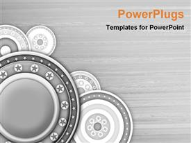 PowerPoint template displaying round abstract art work with stars in gray background