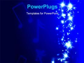 PowerPoint template displaying sparkling trail with musical notes on a dark blue background