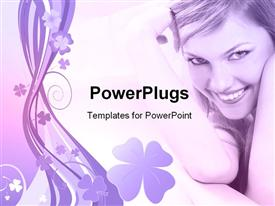PowerPoint template displaying a pretty lady smiling on a floral designed background
