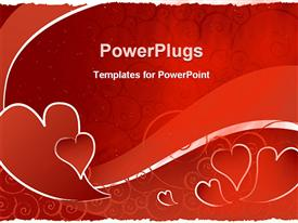PowerPoint template displaying red hearts with red swirl wave, red scroll background